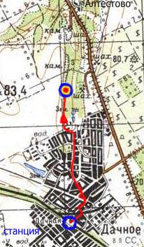 Маршрут движения при подъезде электричкой (карта)